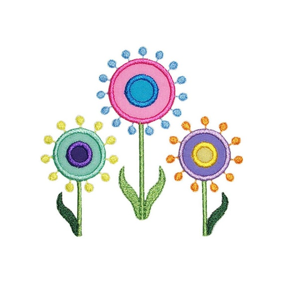 Diseño de bordado la máquina punto círculo flores apliques | Etsy