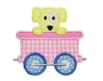 Train Car Puppy Applique Machine Embroidery Digital Design Engine Dog