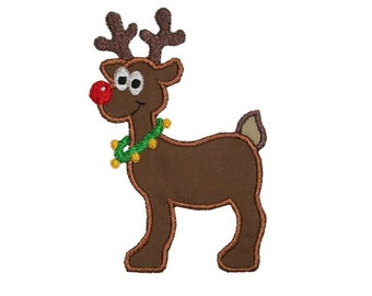 Rudolph Applique Machine Embroidery Digital Design Rudolf Christmas red nose reindeer