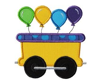 Train Car Balloons Applique Machine Embroidery Digital Design Party Birthday Celebration