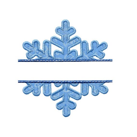 snowflake name plate applique machine embroidery digital etsy