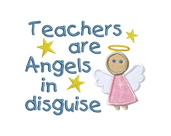 Teachers Angels Applique Machine Embroidery Digital Design Disguise Thanks School Appreciation