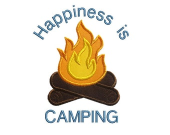 Campfire Applique Machine Embroidery Digital Design Happiness Camping Tent Bonfire Marshmallows So-mores
