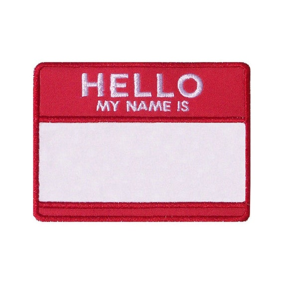 hello my name is applique machine embroidery design name tag etsy