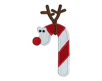Candy Cane Reindeer Applique Machine Embroidery Digital Design Rudolph Rudolf Christmas