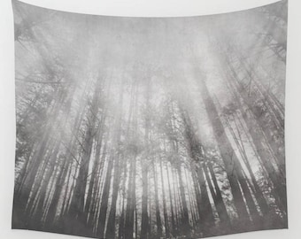 wall tapestry, oversized wall art, forest tapestry, tapestry, wall tapestry, nature tapestry, gothic tapestry, goth grey