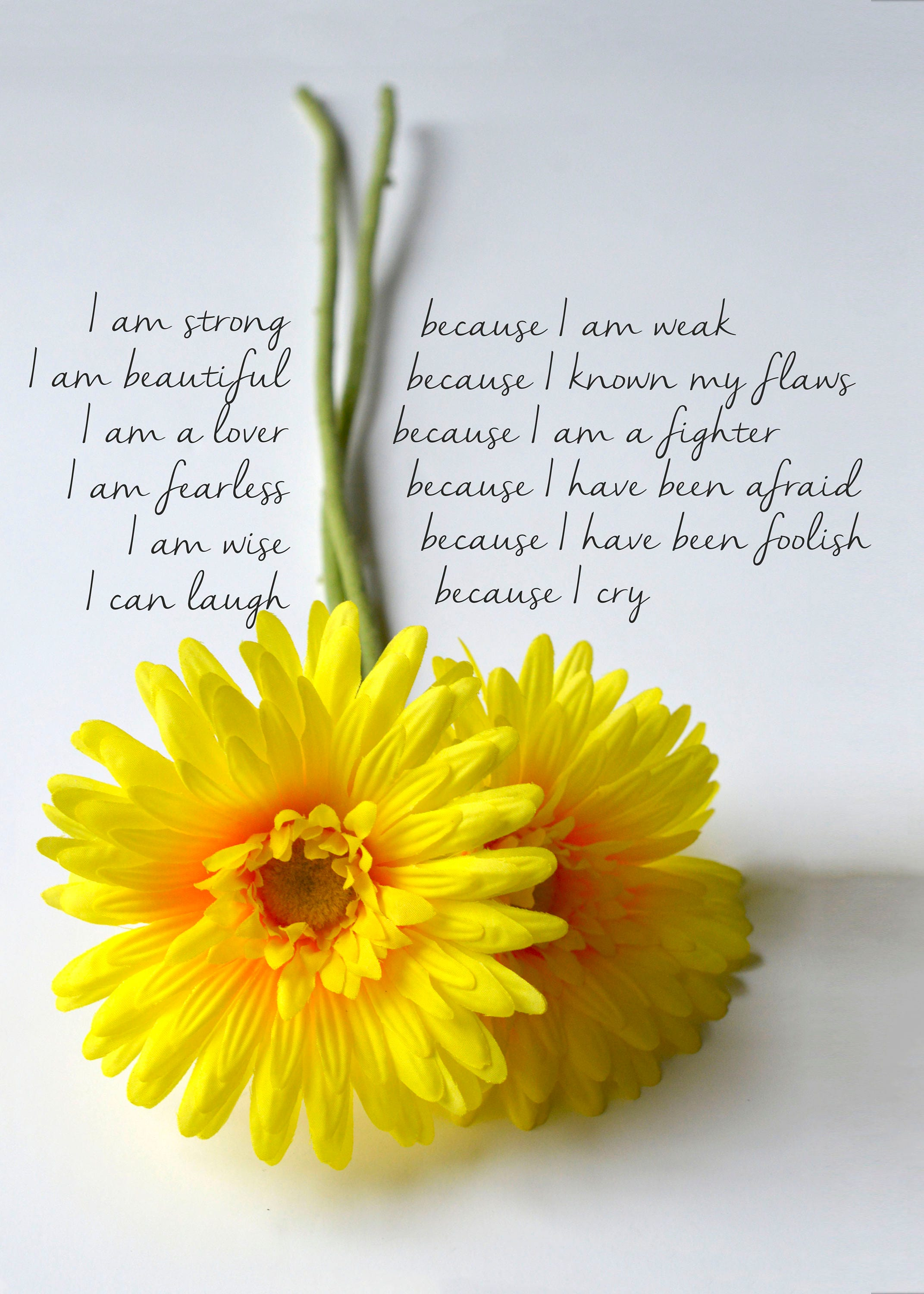 Yellow Sunflower Love Card I Am Strong Quote Fine Art Print Etsy