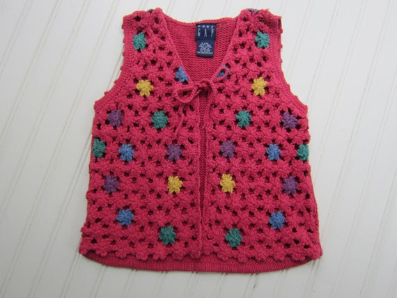 Little Girls Granny Square Design Vest 1994 Cotton