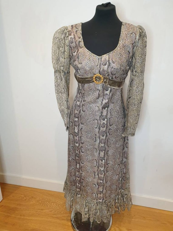 Dollyrockers snake print gold 70s dress great cond