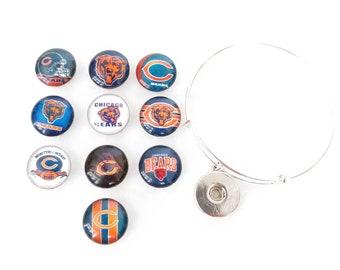 Chicago Bears football team round charm bangle bracelet