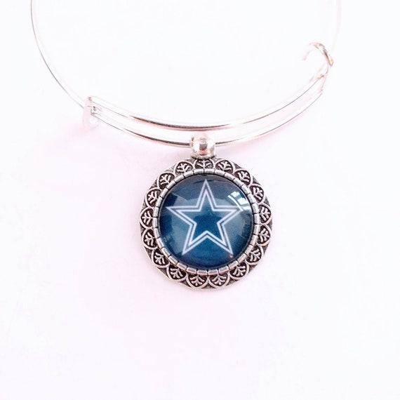Dallas Cowboys football team round charm bangle bracelet
