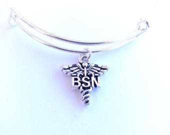 BSN Bachelors of Science in Nursing silver plated bangle bracelet