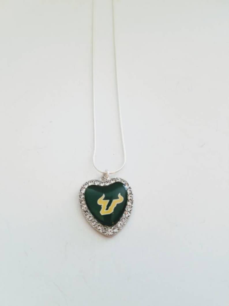USF University of South Florida Bulls football team crystal heart charm necklace