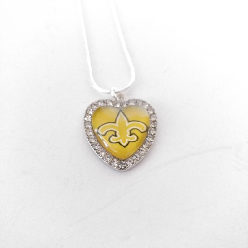 New Orleans Saints football team crystal heart charm bangle bracelet or snake chain necklace