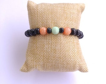 Mint and coral beaded bracelet with dyed quartzite stones and black wooden beads