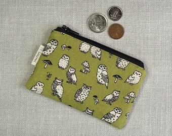 Coin Purse - Owls - Woodland Owl - Cute Coin Purse - Gift - Change Wallet - Zipper Bag - Olive / Moss Green - Card Wallet -Zipper Coin Pouch