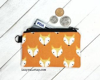 Money Pouch Birthday Gift Headphone Pouch Foxy Fabric Purse Fox Coin Purse Framed Purse Fox Small Money Purse