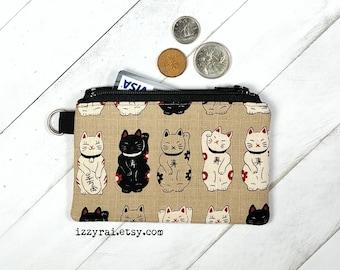 Coin Purse - LUCKY CAT / Money Cat - Maneki Neko - Zipper Coin Pouch - Cute Coin Purse - Change Wallet - Zipper Bag - Beige - Card Wallet
