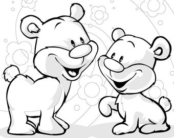 Cute Bears by HVS - 1 Coloring Page in PDF file