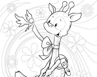 Cute Giraffe by HVS - 1 Coloring Page in PDF file