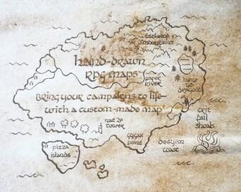 "Hand-written aged D&D campaign map - a4 or 8.5"" x 11"", unframed."
