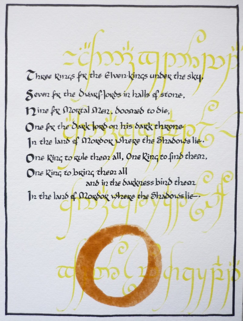 Lord Of The Rings Ring Quote | One Ring To Rule Them All Hand Written Lord Of The Rings Etsy