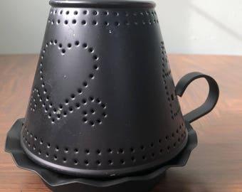 vintage black metal candle holder