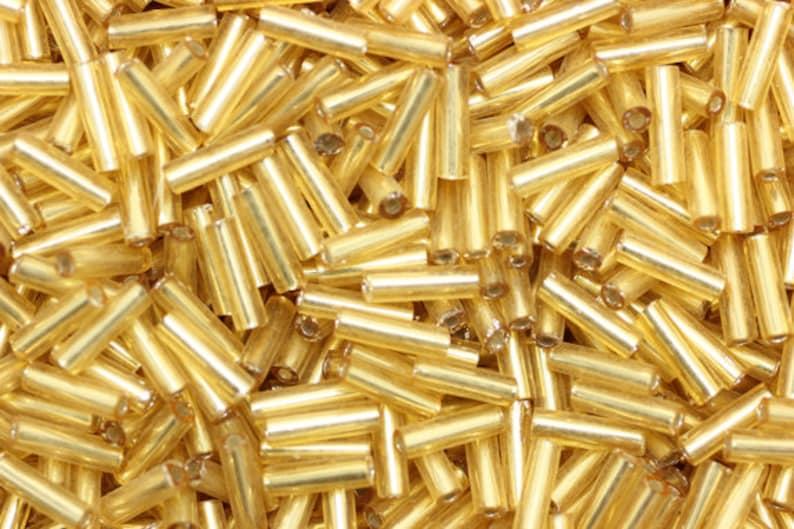 #3 Bugle Beads Opaque Golden Yellow