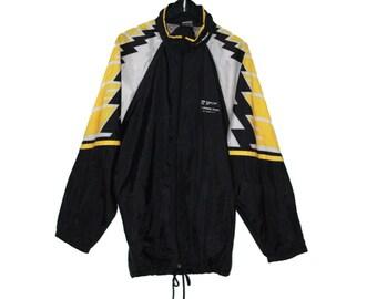 d7dca5e118ce8 K-way vintage années 1980 coupe vent noir jaune blanc graphique - vêtement  vintage
