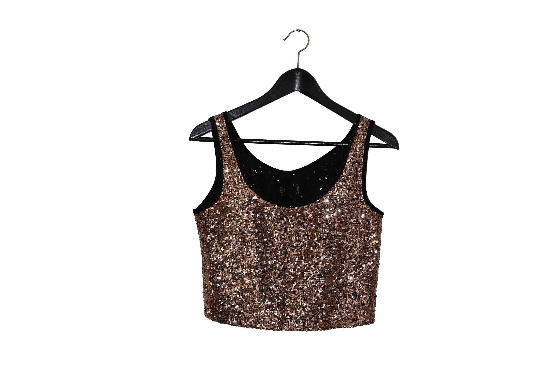 e4af065df32d6 1970 s vintage crop top women clothing 70s gold top 1970s sequins woman top  golden sequins - vintage clothing