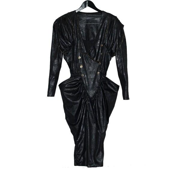 1980's vintage black leatherette dress