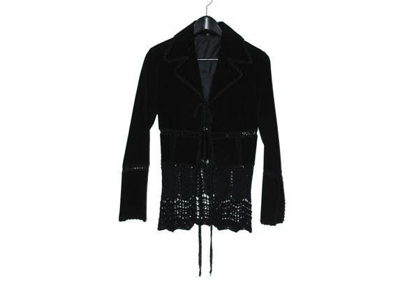 1970s vintage black women suede jacket suit jacket