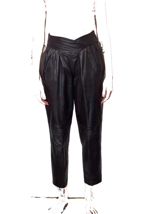 1980's black leather pants super soft small size