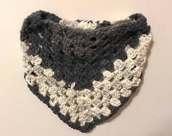 hand crocheted crochet triangle infinity scarf