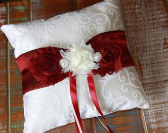 Ring Bearer Pillow, Burgundy Ring Bearer Pillow, Burgundy Ring Pillow, Burgundy Ring Pillow, Shabby Chic Ring Pillow, YOUR CHOICE COLOR