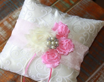 Ring Bearer Pillow, Pale Pink Ring Bearer Pillow, Pink Ring Pillow, Pale Pink Ring Pillow, Shabby Chic Ring Pillow, YOUR CHOICE COLOR