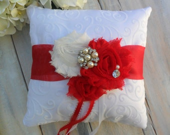 Ring Bearer Pillow, Red Ring Bearer Pillow, Red Ring Pillow, Shabby Chic Ring Bearer Pillow, Bridal Accessory, YOUR CHOICE COLOR
