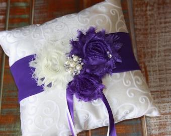 Ring Bearer Pillow, Purple Ring Bearer Pillow, Shabby Chic Ring Bearer Pillow, Purple Ring Pillow, YOUR CHOICE COLOR