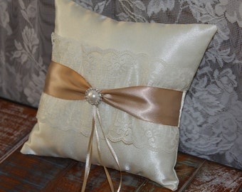 Champagne/Ivory ring Pillow, Satin Ring Bearer Pillow, Bridal Accessory, Weding Accessory, Your Choice Ribbon Color