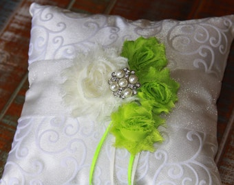 Ring Bearer Pillow, Lime Green Ring Bearer Pillow, Lime Green Ring Pillow, Shabby Chic Ring Pillow, YOUR CHOICE COLOR