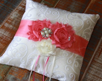 Ring Bearer Pillow, Lt Dusty Rose Pillow, Shabby Chic Ring Bearer Pillow, Lt Dusty Rose Ring Pillow, YOUR CHOICE COLOR