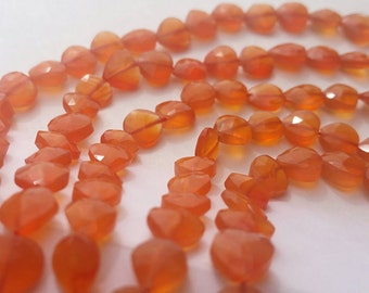 """Carnelian Beads AAA Faceted Vertical Drop Briolette Heart Beads Faceted 9"""" Strand CN5L6F0001"""