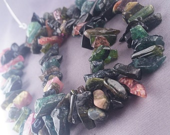 """94ct Rough Tourmaline Watermelon Natural Nugget Tube Beads 7"""" Strand Multicolor  TMXT1R0005"""