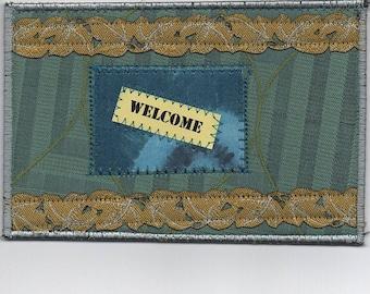 Fabric Art Welcome Postcard