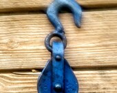 Antique Primitive Blue Rusty Pulley Trolley Barn Find
