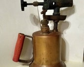 Antique Brass Blow Torch with Wooden Handle