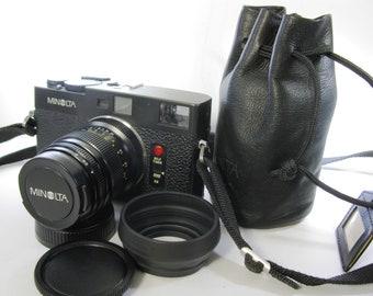 Vintage Minolta CLE Rangefinder Camera with Minolta 90mm M-Rokkor f4 Lens