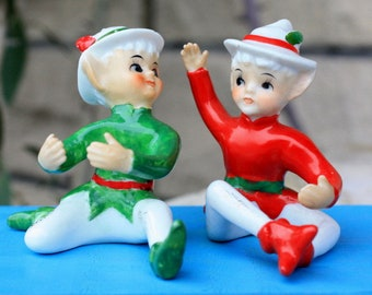 a6e9d04a3ea07 Vintage Set Christmas Red Green Elves Pixies Candle Climbers Huggers  Holders Japan 1950 s Mid Century Collectibles Decorations Figurines