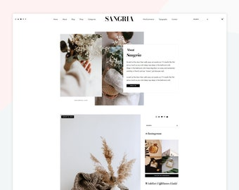 Sangria - Responsive WordPress theme, premade post layouts, compatible with WooCommerce, homepage about widget.