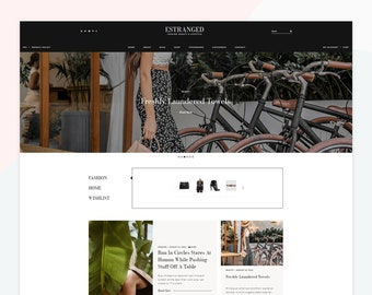 Estranged - Responsive WordPress theme, custom posts design, compatible with WooCommerce, popup sign up, feminine design